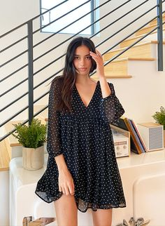 This is a faux-wrap mini dress with sheer, balloon sleeves. It's made with gauzy, semi-sheer fabric. This version comes in a polka dot print that was designed in-house. Babydoll Dress Outfit, Smock Dress, Jacket Dress, Black Dress Outfits, Casual Dresses, Cute Fashion, Fashion Outfits, Women's Fashion, Vintage Summer Dresses
