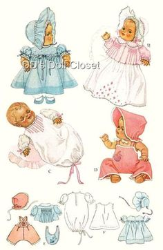 Vintage Baby Doll Clothes Pattern 713-20
