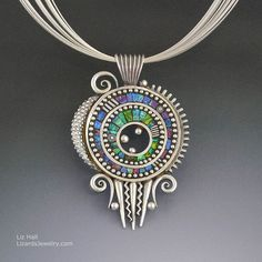 Silver pendant necklace with iridescent mosaic inlay polymer clay sterling strand chain: Liz Hall
