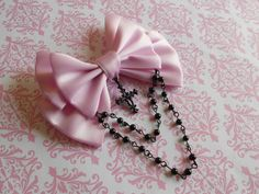 Hair clip or Brooch Lilac bow with black cross by LittleBanshees, $10.00