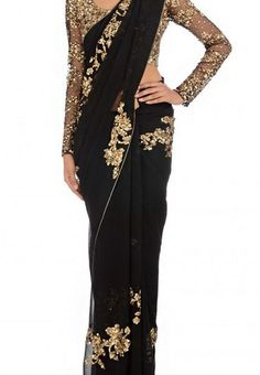 Black Color Georgette Saree - Rs. 1650.00