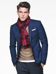 \\ denim slacks, white crew neck tee, tan v-neck sweater, navy blazer, white pocket square & red plaid foulard