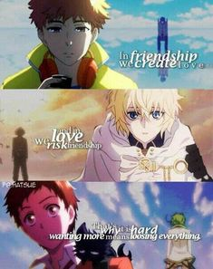 In friendship we create love, and in love we risk friendship, that's why it is hard, wanting more means losing everything, sad, text, Hide, Kaneki, Tokyo Ghoul, Mika, Seraph of the End, Kuro, cat form, neko, Mahiru, Watanuki, Servamp, crossover; Anime
