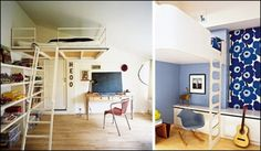 Loft Bed For Kids And Adults, space saving, Loft bed ~ www - Modern loft beds for adults Cool Loft Beds, Bunk Beds For Boys Room, Kid Beds, Small Room Design, Modern Bedroom Design, Modern Design, Bedroom Designs, Loft Room, Bedroom Loft