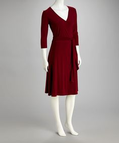 Take a look at this Burgundy Wrap Dress by Paniz on #zulily today! $29.99, regular 110.00