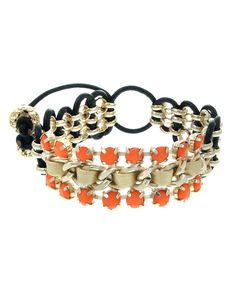 "ZB0338  Faux leather and faceted natural stone pull-tie bracelet. Wear it with a tank top on a cool day. Lead and nickel safe.    MEASUREMENT  Width: 7/8"" - ZB0338-GOLD MINT"