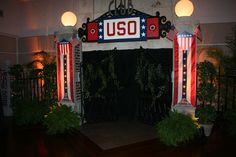 The USO Backdrop. The band set up in front of this...