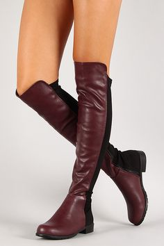Bamboo Two Tone Round Toe Riding Thigh High Boot