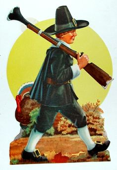 """1960 Forbes Litho Co. 'Pilgrim Hunter' Lithograph Decoration. Both Paper and Cardboard Stand-Up versions. Size: 12"""""""