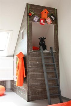 Orange and layout for kid bedroom. #play #house #room #fort #wood #attic #ladder