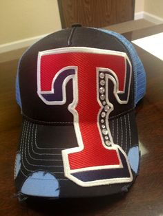Texas Rangers Bling Hat by MoonshineKisses on Etsy, $30.00