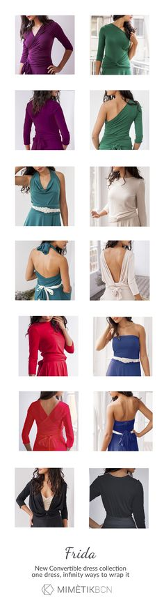 """The """"Frida"""" dress is a versatile wrap dress with a 3/4 sleeve and a half circle skirt. Perfect for bridesmaids, parties and any special occasion.You can wear it in many ways, wrapped in the front or in the back."""