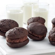 """Our Ghirardelli Chocolate Sandwich Whoopie Pies are so good, they'll make you shout """"whoopie!"""" Two rich, pillowy chocolate cookies enclose a cloud-like chocolaty filling."""