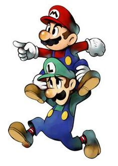 View an image titled 'Mario & Luigi - Piggyback Art' in our Mario & Luigi: Superstar Saga art gallery featuring official character designs, concept art, and promo pictures. Super Mario Bros, Super Mario Kunst, Super Mario World, Super Mario Brothers, Super Smash Bros, Nintendo Characters, Video Game Characters, Cartoon Characters, Tattoo Geek