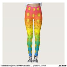 Sunset Background with Gold Sun Pattern Leggings