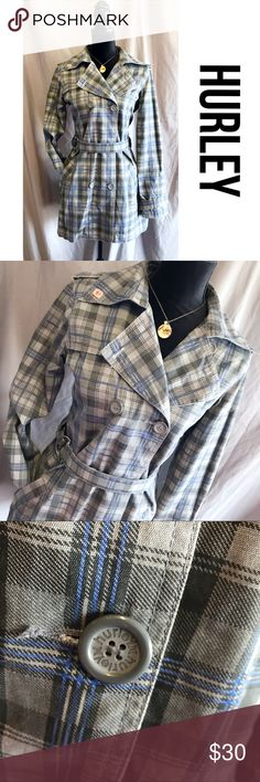 "Gray Plaid Hurley Double Breast Trench Coat L Excellent piece.  Lightweight but liked.  Cinch belt at the waist.  Pockets.  Double breasted buttons.  Size large.  Approx measurements lying flat:  chest 20"", waist 19"", length 32"". B2 Hurley Jackets & Coats"
