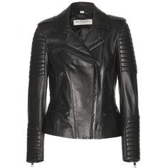 Burberry London Nightingale Leather Biker Jacket found on Polyvore