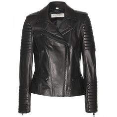 Burberry London Nightingale Leather Biker Jacket (2,250 CAD) ❤ liked on Polyvore featuring outerwear, jackets, leather jacket, coats, burberry, black, black jacket, black leather jacket, leather moto jacket and black moto jacket