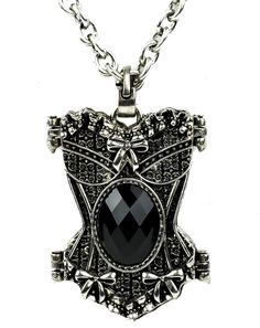 Black Stone Corset Necklace Gothic Design