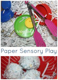 Paper Sensory Bin Play: Recycled Shredded Paper Sensory Play
