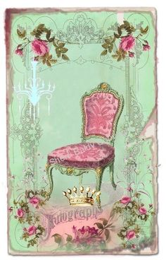 Marie Antoinette Designer The Chair Fabric Block por sherrifairy Decoupage Vintage, Vintage Diy, Images Vintage, Decoupage Paper, Vintage Labels, Vintage Shabby Chic, Vintage Ephemera, Vintage Pictures, Vintage Cards