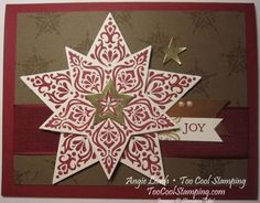 soft sued and cherry, use the star punch from the Itty Bitty Accents Punch Pack to punch out a window in Gold Foil, then use the smallest Star Framelit to cut the outer star shape.