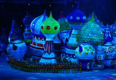 Large helium inflatables create the elements of St. Basil's Cathedral is during the Opening Ceremony of the Sochi 2014 Winter Olympics at Fi...