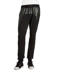 Rogue State Faux Leather and Mesh Joggers Men's Black Medium
