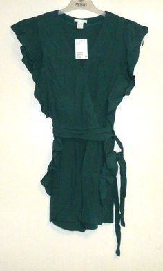9f8f0530cb7 H amp M Playsuit With Frilled Sleeves Green Size UK 8 Box45 46 Q  fashion