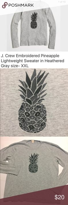 "J. Crew lightweight embroidered pineapple sweater J. Crew Factory women's lightweight embroidered pineapple sweater in Heathered Gray. Hits at the hip. Please see measurements to ensure proper fit.  Normal signs of wear - NO holes, rips or stains. Laundered, clean and ready to ship.  Size on tag: XXL  22"" from armpit to armpit 26.5"" from shoulder to cuff 26"" collar to hem Product details from J. Crew Cotton. Long sleeves. Hits at hip. Machine wash (lay flat to dry). J. Crew Sweaters Crew…"