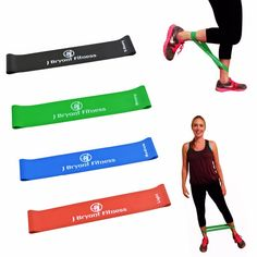 4 PACK POWER BAND Resistance Squatting Cord Weightlifting Bands Aerobics R-P-G-B