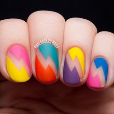 BOLD BOLTS: Negative space nail art using Deborah Lippmann #80sRewind polishes and nail vinyls by Chalkboard Nails