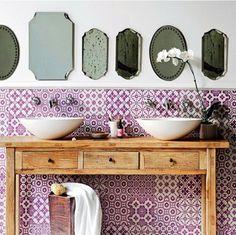 Marrocan modern bathroom love the mirrors