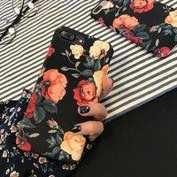 Wish | Iphone Case Retro Flowers Hard PC Capa Beautiful Cartoon Floral Case