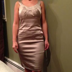 Gold/beige satin evening dress Worn one time to a wedding! Purchased at Saks fifth avenue. Dresses