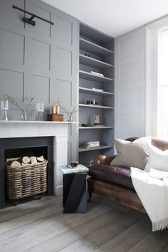 grey shelves and wall panelling by cassandra ellis interior design - perfect set up for fireplace in family room. Indian Living Rooms, Home Living Room, Living Room Designs, Living Room Decor, Apartment Living, Living Room Shelving, Living Room Fireplace, Alcove Shelving, Shelving Ideas