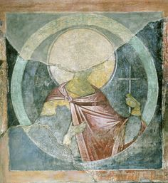 Andrei Rublev. Saint martyr Florus. Fresco on the north-east column of Assumption Cathedral on the Gorodok in Zvenigorod