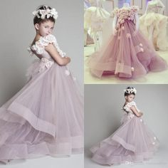 Cutely Krikor Jabotian Children Wedding Dress For Girls 2015 Crew Ball Gowns Handmade Flowers Long Pageant Dresses Girls VT