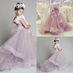 Cutely Krikor Jabotian Children Wedding Dress For Girls 2015 Crew Ball Gowns Handmade Flowers Long Pageant Dresses Girls VT