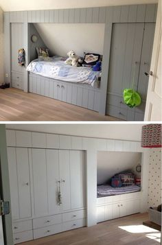 Idea for build in bed in front loft bedroom to make use of the area with reduced head height. - Jo Jo - Idea for build in bed in front loft bedroom to make use of the area with reduced head height.