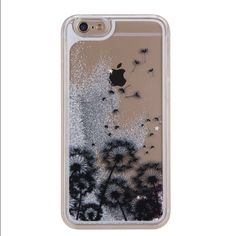 iPhone 6 Plus liquid glitter case Brand new still in packaging. Has silver glitter with silver and pink stars and a fun dandelion design. (I love this case I needed a 6s and ordered a 6 plus by accident) Accessories Phone Cases