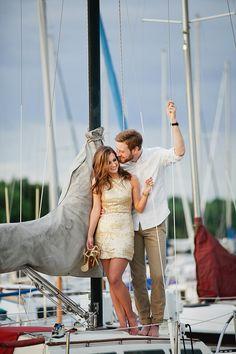 Golden Marina Engagement via Coastal Bride