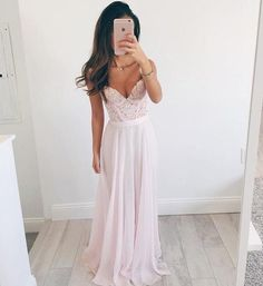 V-neck Long Chiffon Baby Pink Long Prom Dresses Evening Dresses-Pgmdress