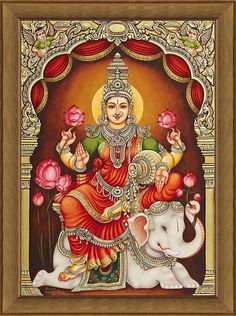 Ganjan Lakshmi Tanjore Painting, A contemporary rendition (via StudioGanjan) Mysore Painting, Kerala Mural Painting, Tanjore Painting, Indian Traditional Paintings, Indian Art Paintings, Lord Shiva Painting, Ganesha Painting, Lakshmi Images, Buddha