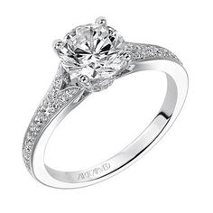 """Artcarved """"Jordana"""" 14K White Gold Diamond Split Shank Engagement Ring Featuring an High Polished Band Including 0.25 Carats White Diamonds. Style 31-V500GRW"""