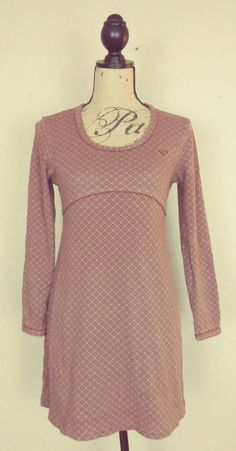 Roxy Gray Brown Stretch 100% Cotton Knit Mini Dress Long Sleeve sz M #ROXY #EmpireWaist #CasualFestiveCollege