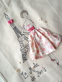 Paris Fashion Pink Eiffel Tower Retro by PetiteSourisStudio Embroidery Fashion, Beaded Embroidery, Hand Embroidery, Embroidery Designs, Baby Sewing Projects, Sewing Crafts, Vintage Buttons, Vintage Pink, Fabric Journals