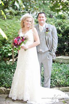 Garden Wedding Venue | Gray Groom's Suit