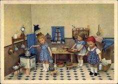 Ak-Kaethe-Kruse-Puppen-Kueche-Herd-Toepfe-Tisch-Kleider-1211047