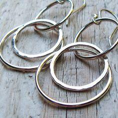 Fine Silver Hoop Dangle Earrings - Sterling Silver Hammered Open Circles
